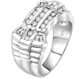 Sterling Silver .925 Watch Band Style C.Z Ring