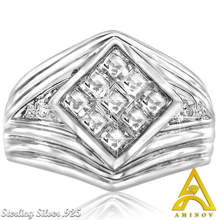 Sterling Silver .925 Princess Cut C.Z Ribbed Ring Band