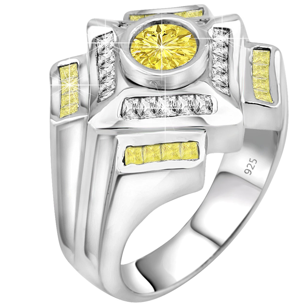 Sterling Silver .925 Yellow & White C.Z Ring