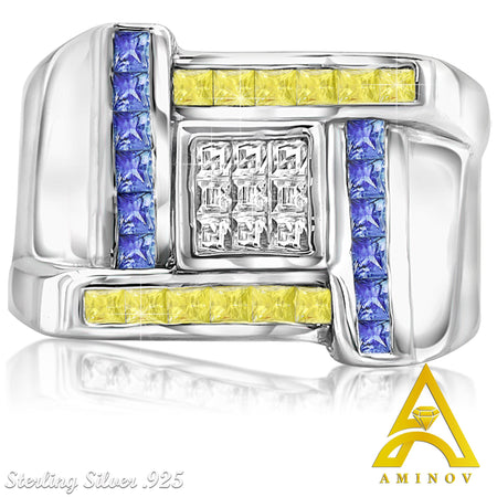 Sterling Silver .925 Yellow, White & Blue C.Z Ring