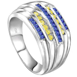 Sterling Silver .925 Yellow & Blue C.Z Ring