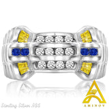 Sterling Silver .925 Watch Band Style White, Blue & Yellow C.Z Ring