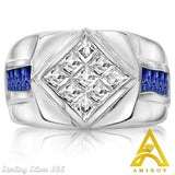 Sterling Silver .925 Clear & Blue C.Z Ring