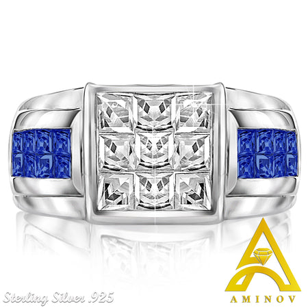 Sterling Silver .925 White & Blue C.Z Ring