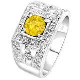 Sterling Silver .925 Yellow C.Z Center Stone Ring