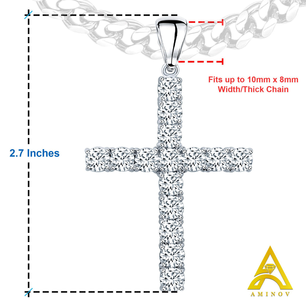 Sterling Silver .925 C.Z Tennis Cross Charm Pendant