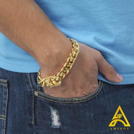 Gold Plated Stainless Steel Miami Cuban Link Bracelet