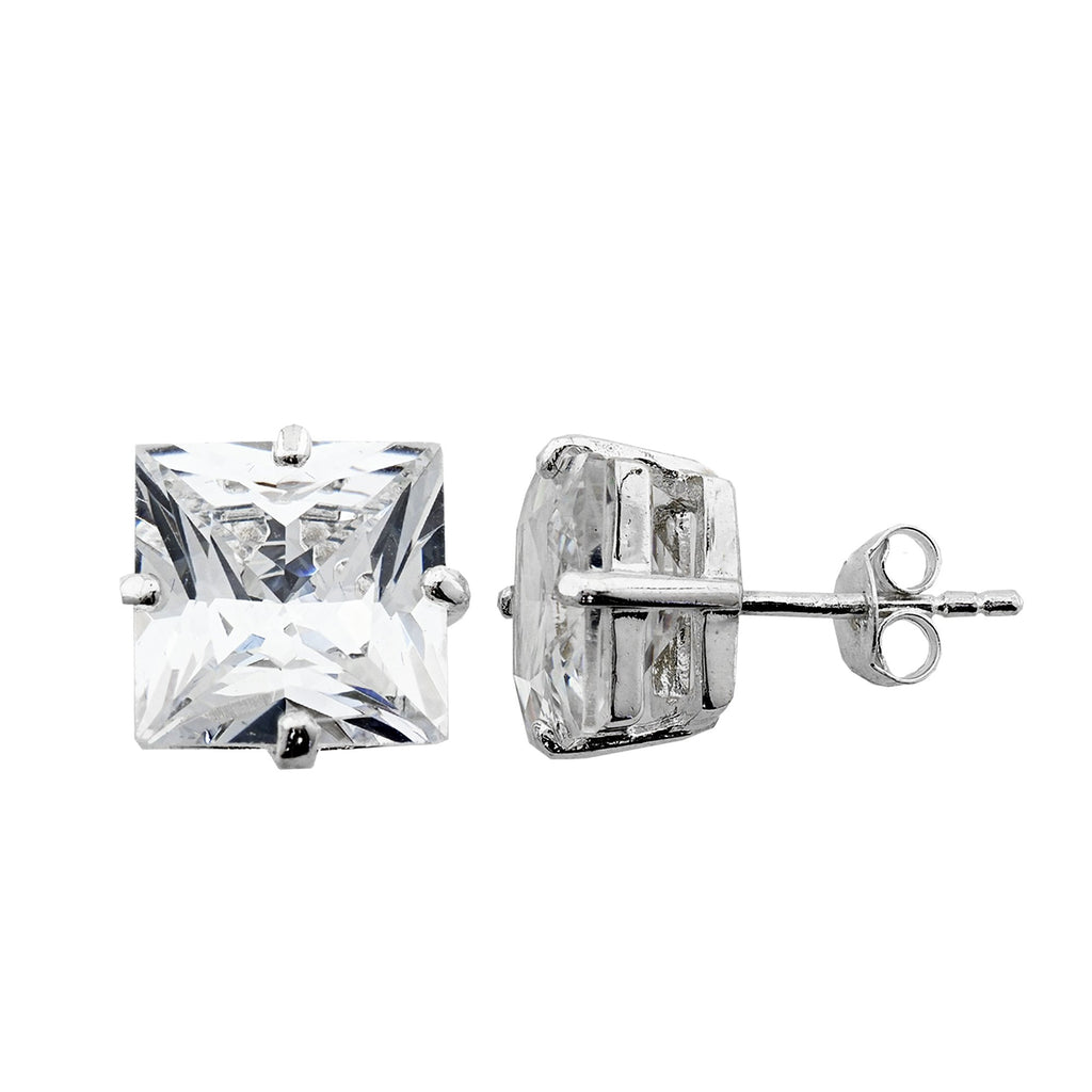 Sterling Silver .925 C.Z Square Studs 7mm