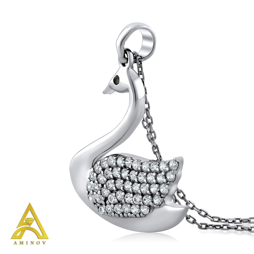 Sterling Silver .925 C.Z Swan Pendant with Chain