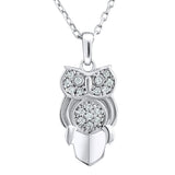 Sterling Silver .925 C.Z Owl Pendant with Chain