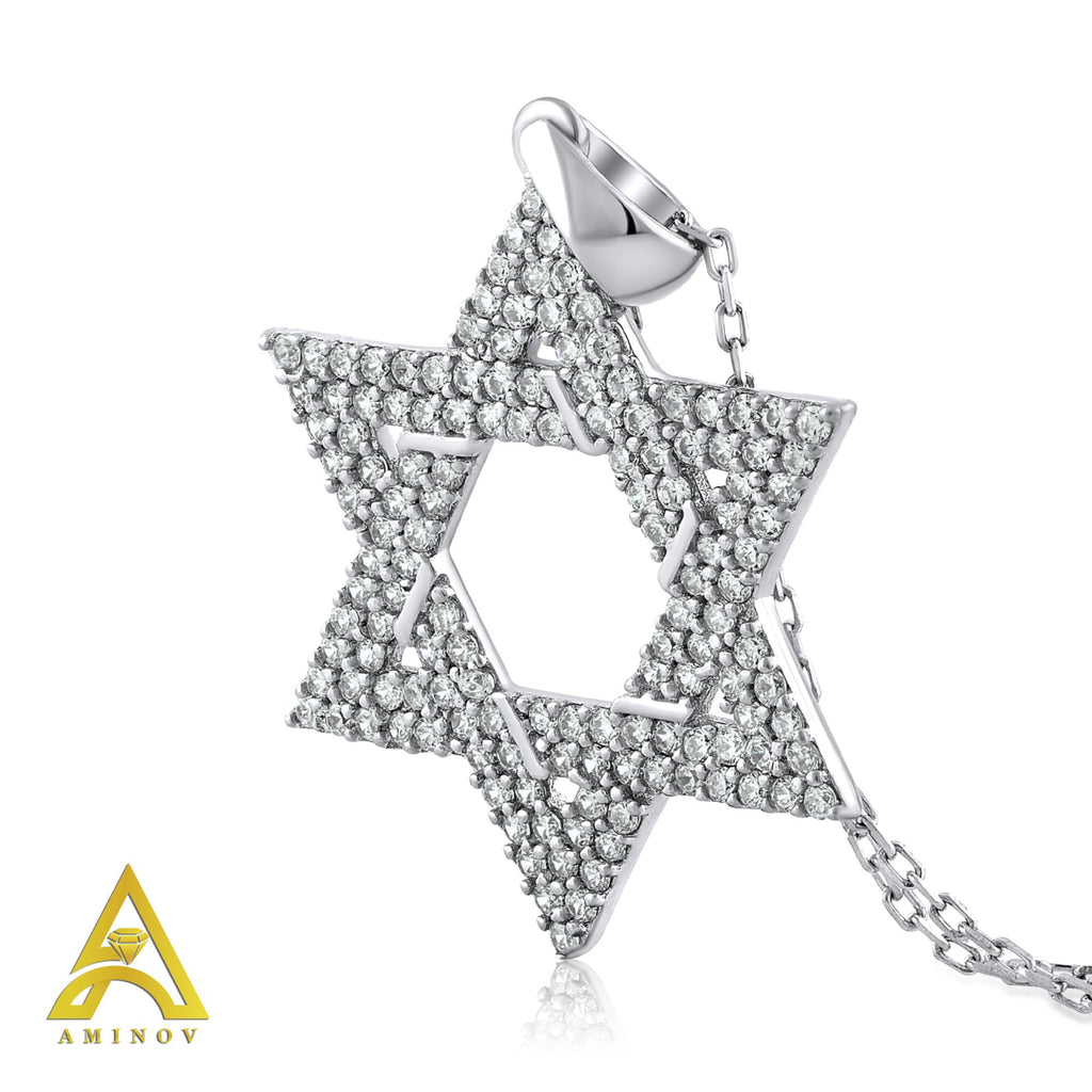 Sterling Silver .925 C.Z Star of David Pendant with Chain