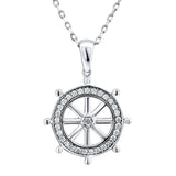 Sterling Silver .925 C.Z Ship's Wheel Pendant with Chain