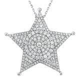 Sterling Silver .925 C.Z Star Pendant with Chain