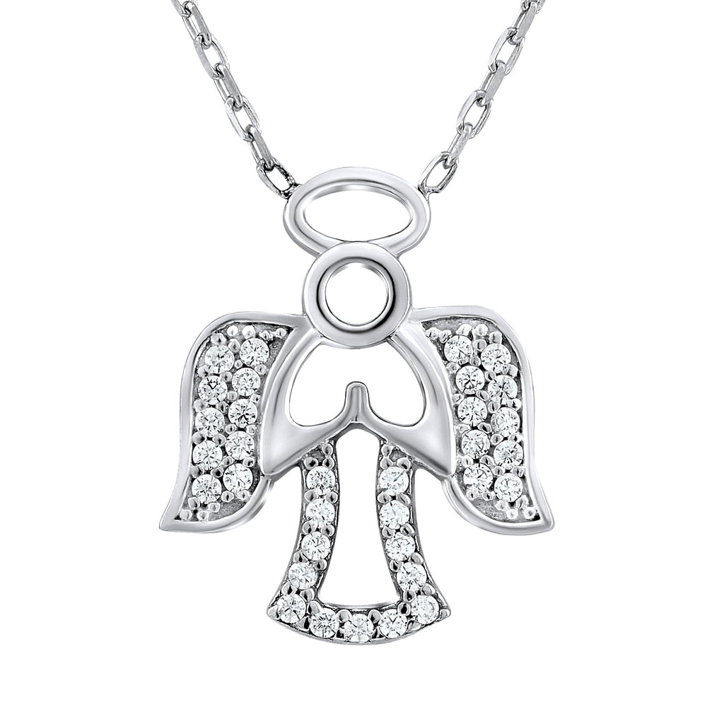 Sterling Silver .925 C.Z Angel Pendant with Chain
