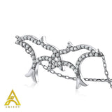 Sterling Silver .925 C.Z 2 Turtle Doves with Chain
