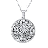 Sterling Silver .925 C.Z Hearts Circle Pendant with Chain