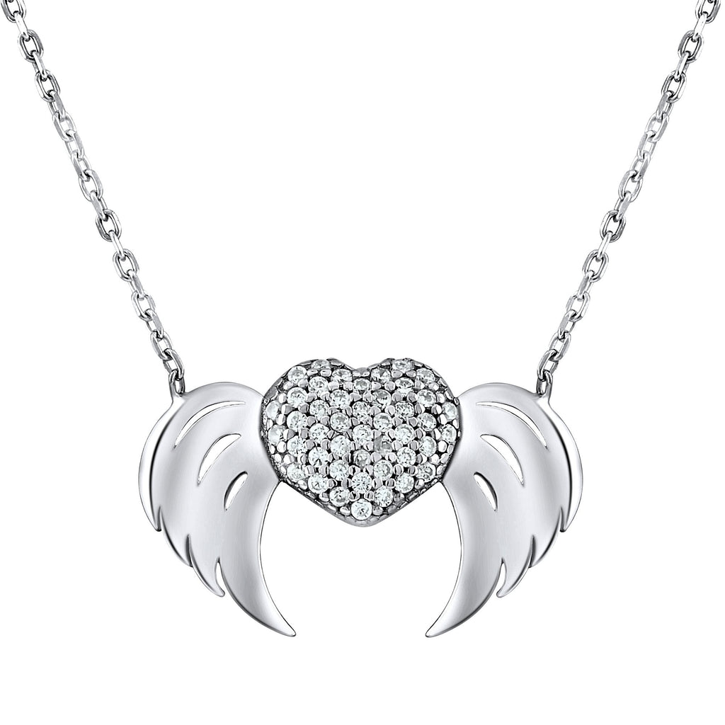 Sterling Silver .925 C.Z Heart Wings Pendant with Chain