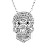 Sterling Silver .925 C.Z Skull Pendant with Chain