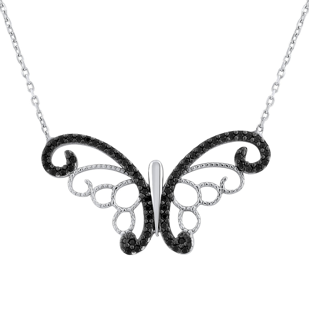 Sterling Silver .925 C.Z Butterfly Pendant with Chain