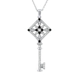 Sterling Silver .925 C.Z Key Pendant with Chain