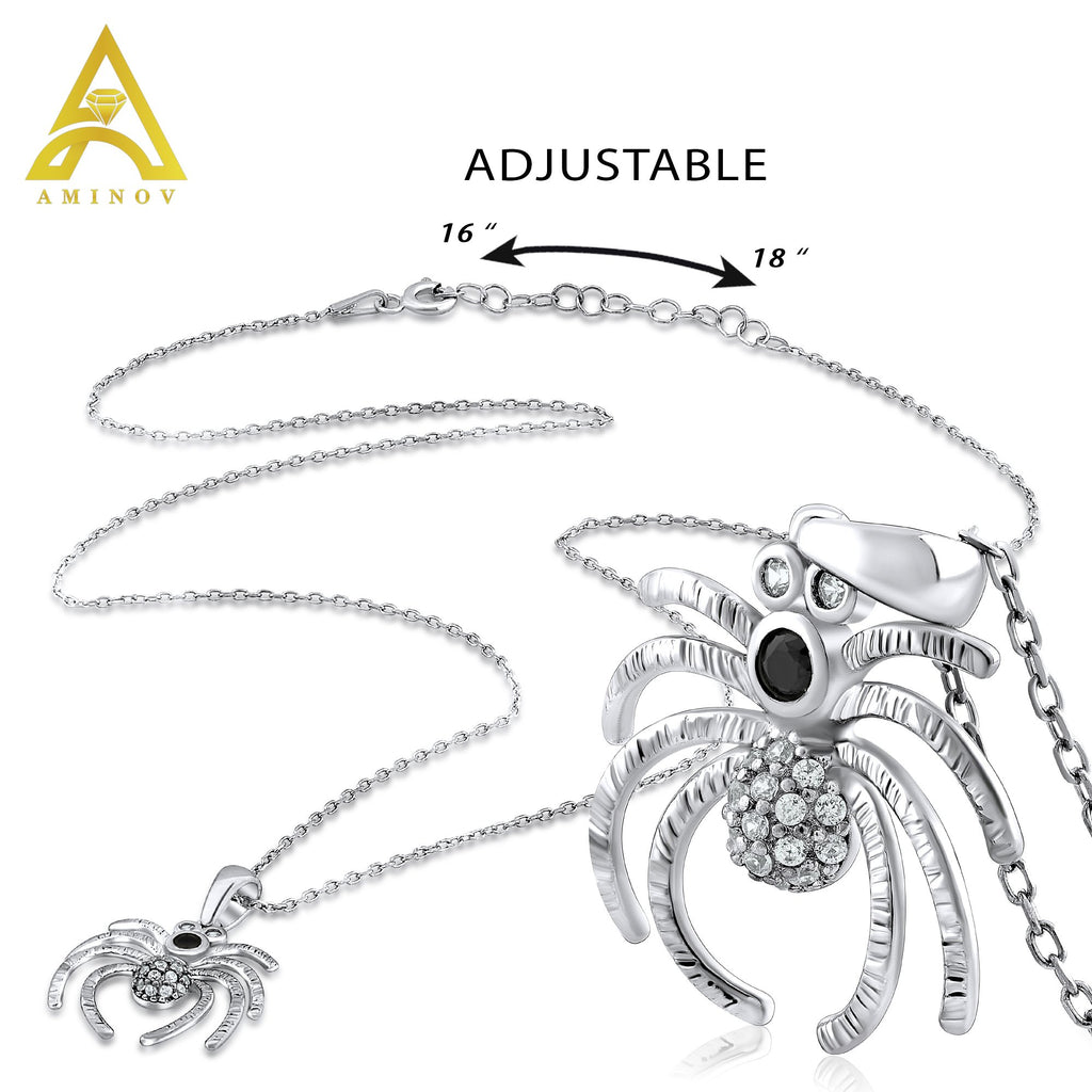 Sterling Silver .925 C.Z Spider Pendant with Chain
