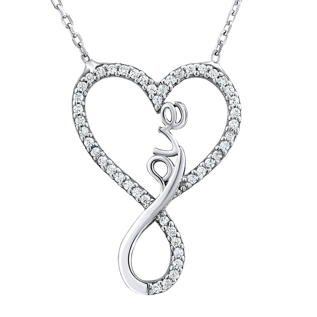 Sterling Silver .925 C.Z Infinity Heart Love Pendant with Chain