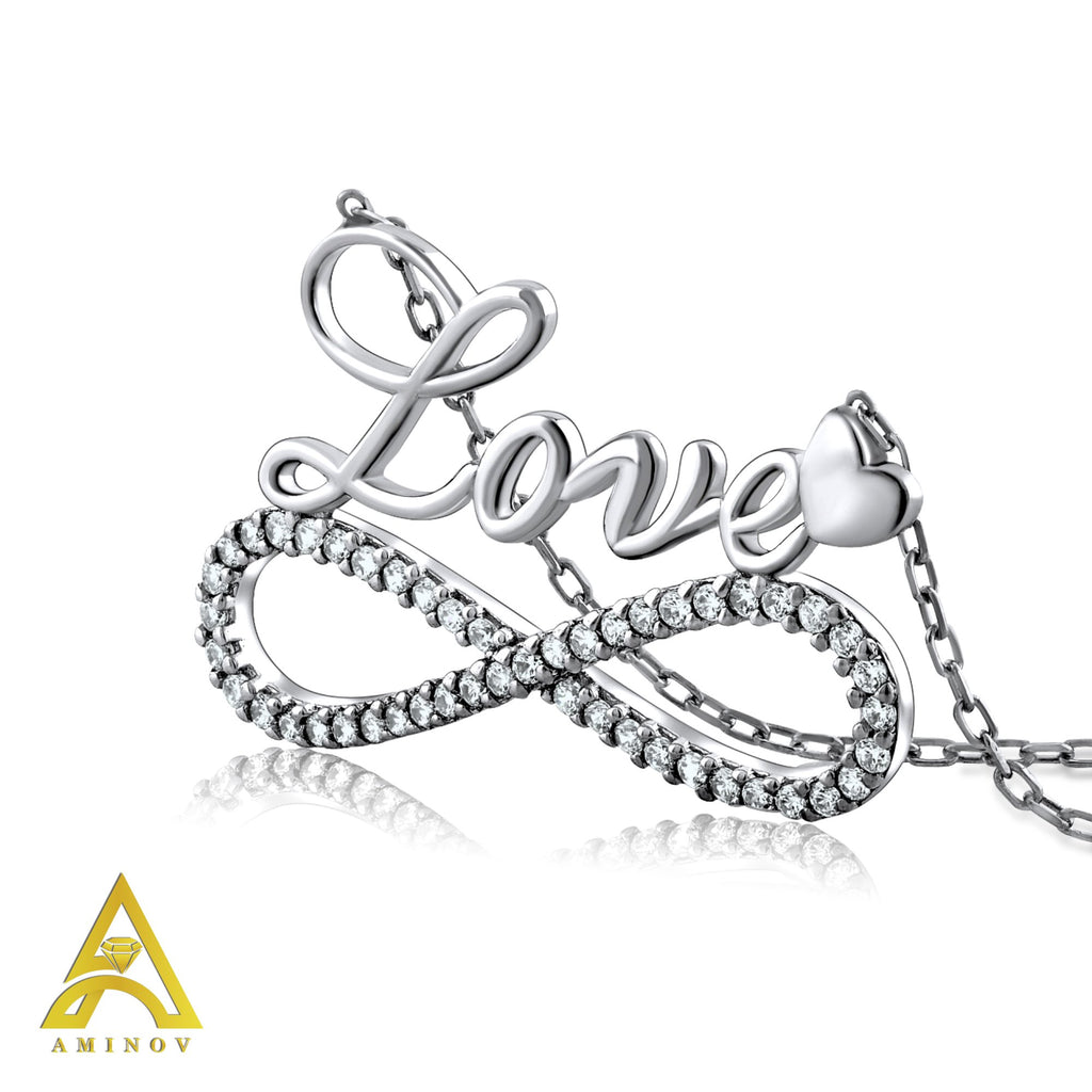 Sterling Silver .925 C.Z Infinity Love Pendant with Chain