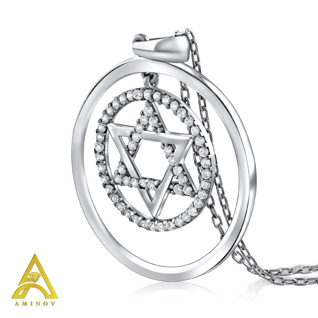 Sterling Silver .925 C.Z Star of David Circle Pendant with Chain