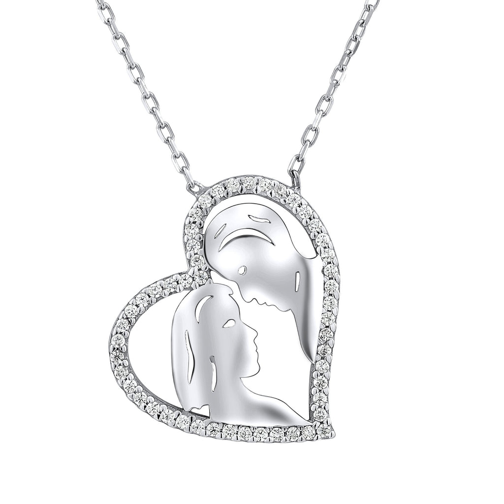 Sterling Silver .925 C.Z Man & Woman Heart Pendant with Chain