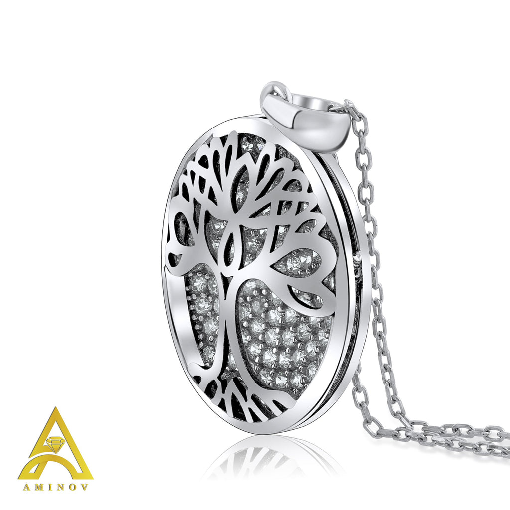 Sterling Silver .925 C.Z Tree Circle Pendant with Chain