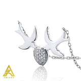 Sterling Silver .925 C.Z 2 Doves Heart Pendant with Chain
