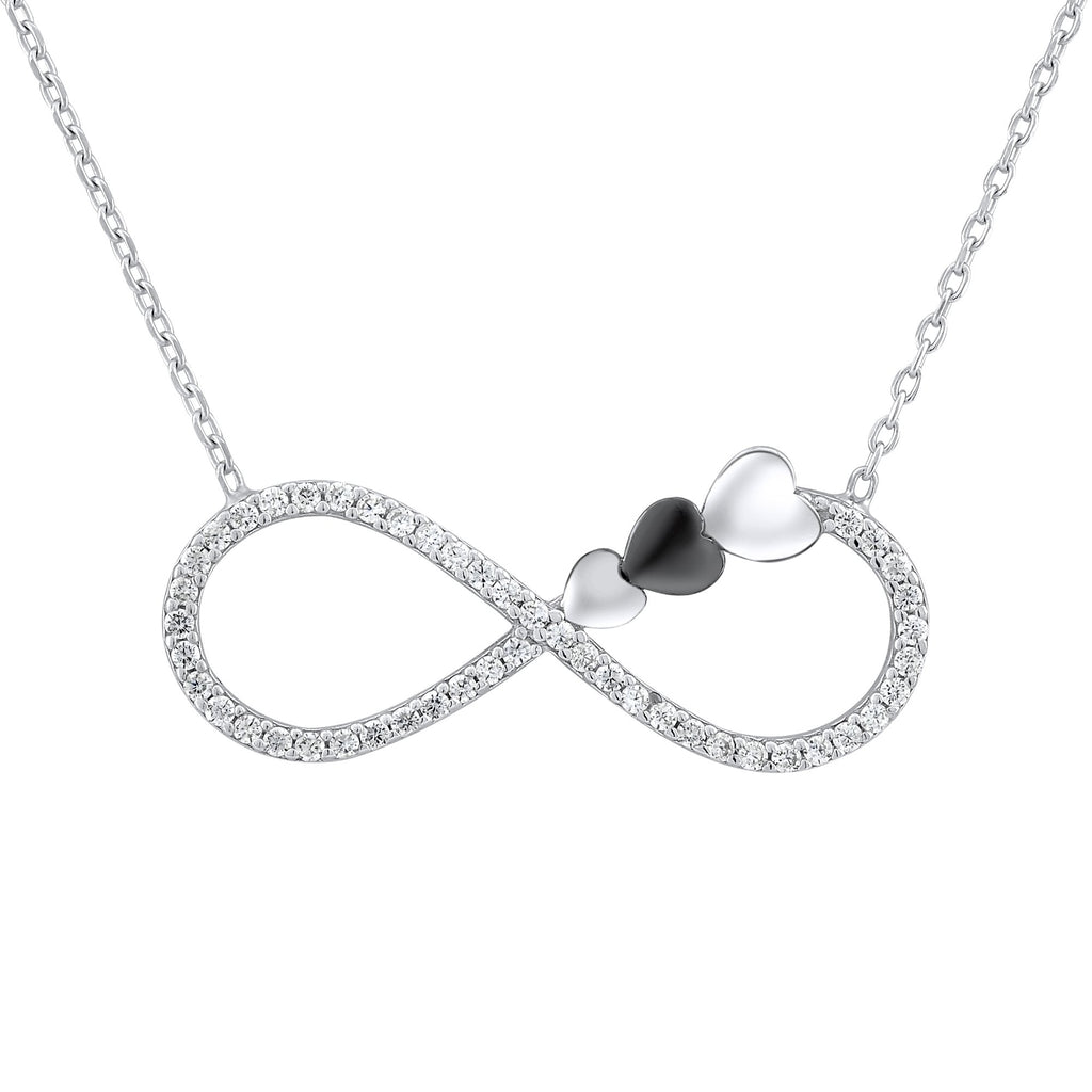 Sterling Silver .925 C.Z Infinity Hearts Pendant with Chain