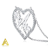Sterling Silver .925 C.Z Lifeline Heart Pendant with Chain