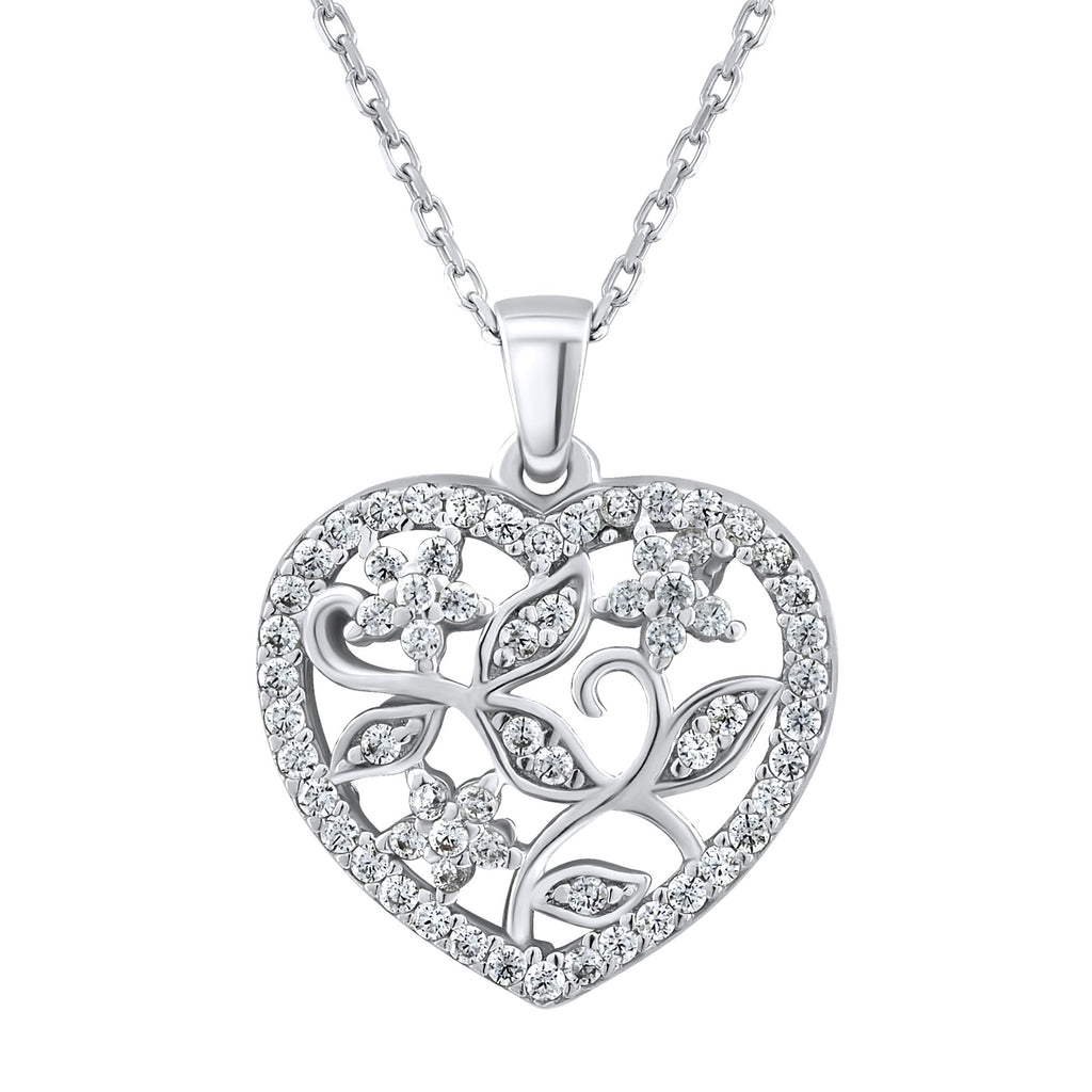 Sterling Silver .925 C.Z Flowers in Heart Pendant with Chain