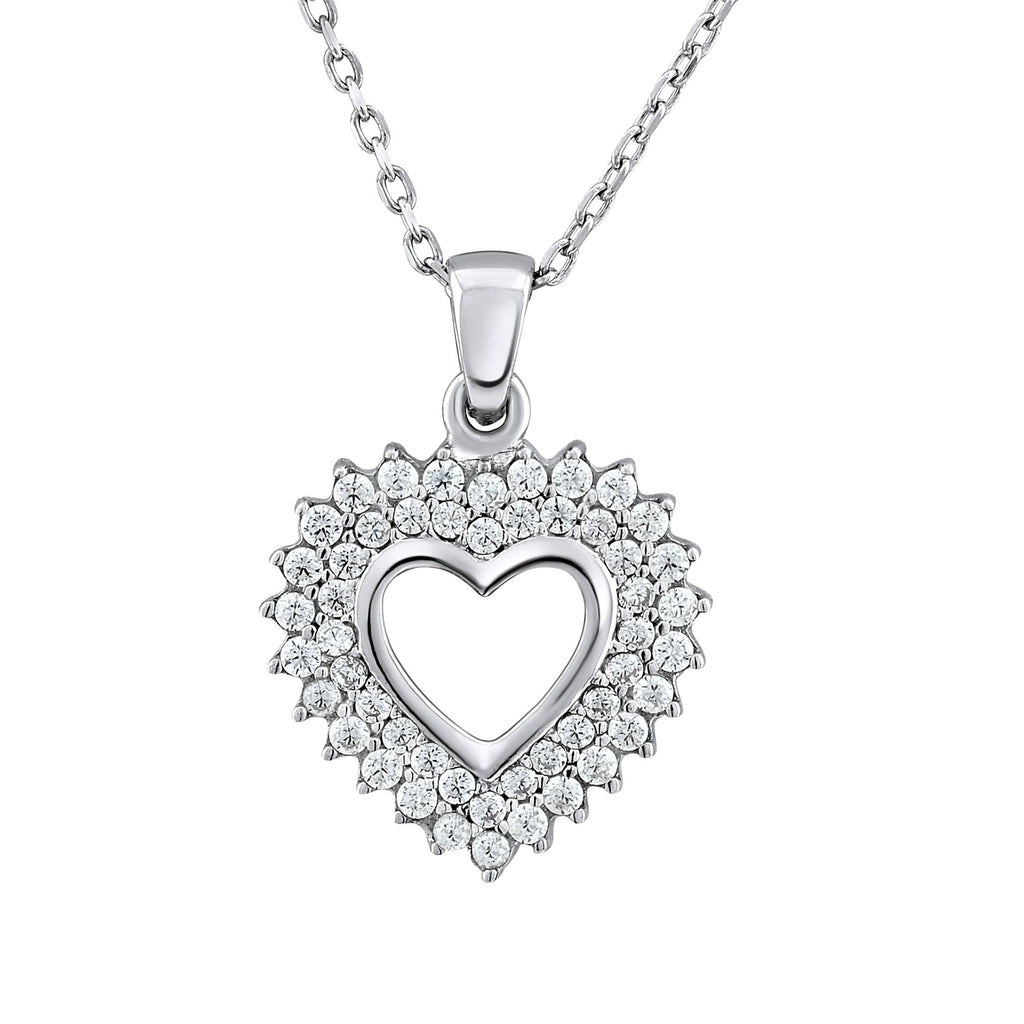 Sterling Silver .925 C.Z Heart Pendant with Chain