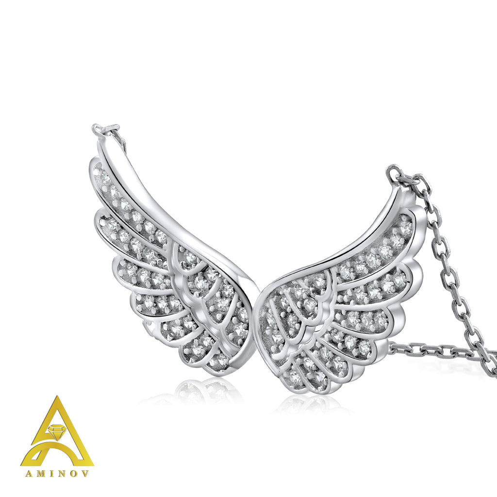 Sterling Silver .925 C.Z Angel Wings Pendant with Chain