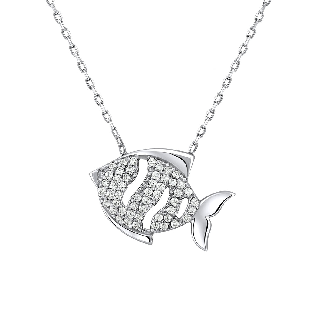 Sterling Silver .925 C.Z Fish Pendant with Chain