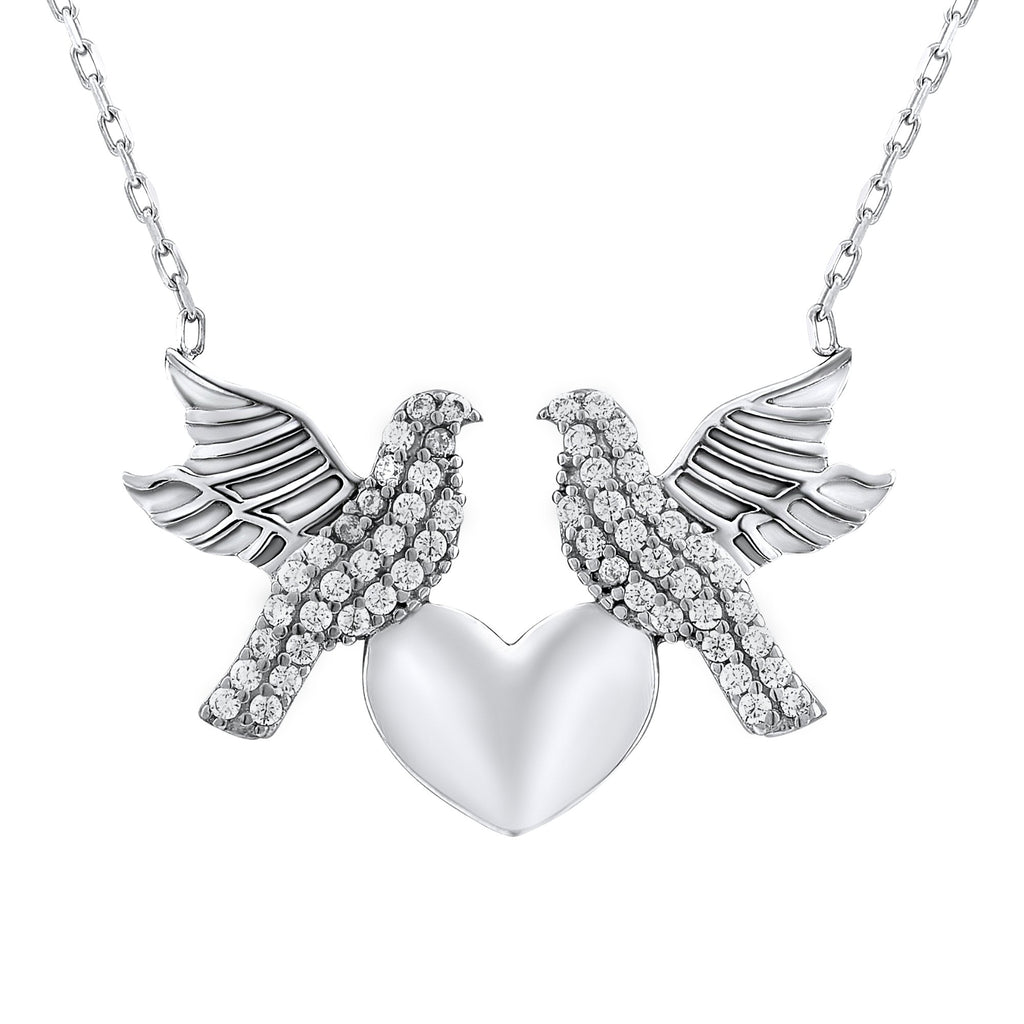 Sterling Silver .925 C.Z Doves Heart Pendant with Chain