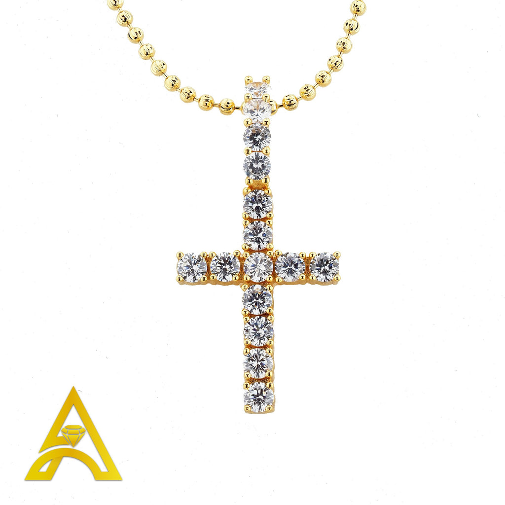 Gold Plated C.Z Cross Charm with Chain