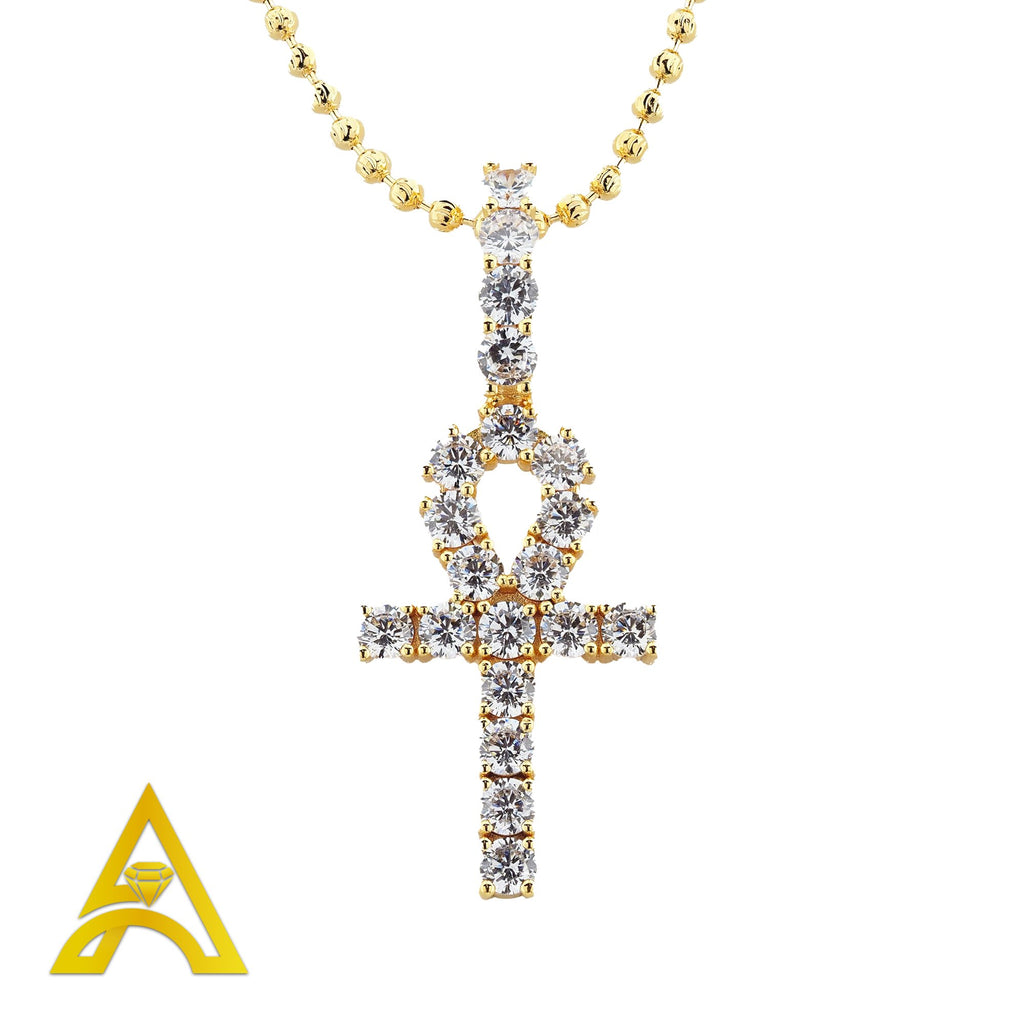 Gold Plated C.Z Ankh Cross Charm with Chain