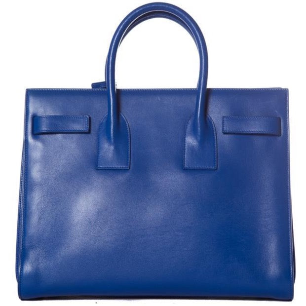 Saint Laurent Sac de Jour Yves Handle Royal Blue Leather Tote - LECLASSIQUE