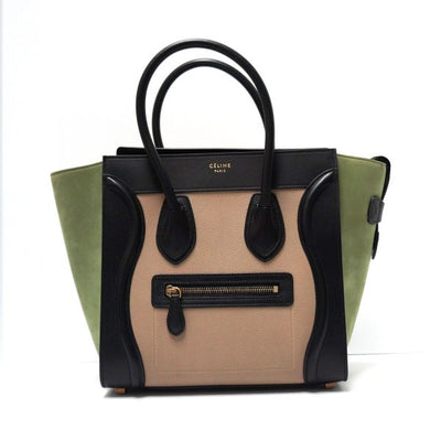 Celine Micro Luggage Tote Bag, Tri-color Green Black Beige Combo of Leather LECLASSIQUE