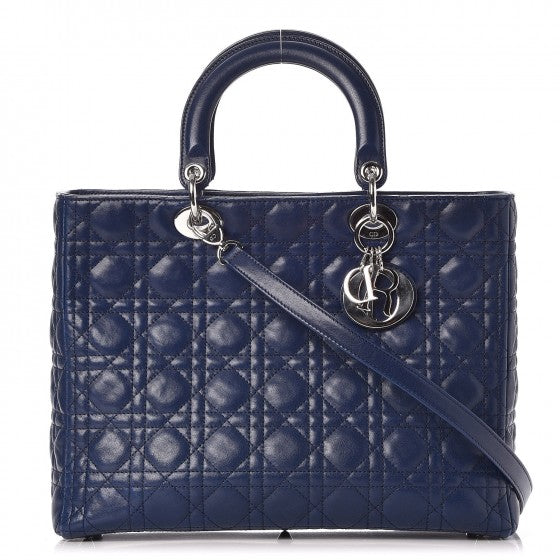 Christian Dior Lambskin Cannage Large Lady Dior Navy Blue