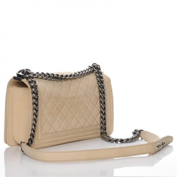 Chanel Boy Flap Quilted Calfskin Medium Beige - LECLASSIQUE