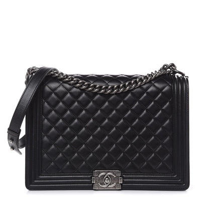 Chanel Boy Flap Quilted Lambskin Ruthenium Large Black - LECLASSIQUE