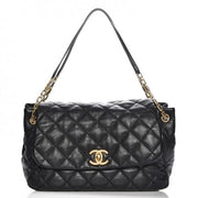 CHANEL Calfskin Quilted Jumbo Retro Chain Flap Black - LECLASSIQUE