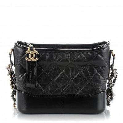 CHANEL Calfskin Quilted Small Gabrielle Hobo Black - LECLASSIQUE