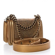 CHANEL Galuchat Stingray Mini Boy Flap Gold - LECLASSIQUE