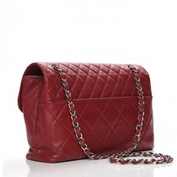 CHANEL In The Business Flap Diamond Quilted Dark Red - LECLASSIQUE