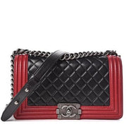 CHANEL Lambskin Quilted Medium Boy Flap Black Red - LECLASSIQUE